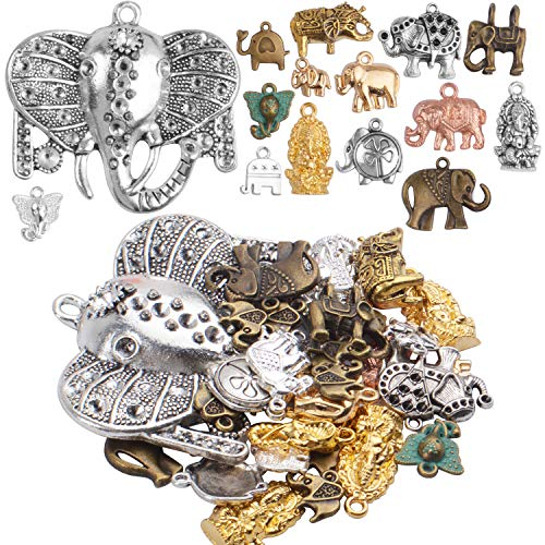 100g (About 20-40pcs) Mixed Antique Elephant Charms Tibetan Animal Charms Pendants Jewelry Findings for Bracelets Necklace Crafts Making