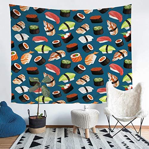 Loussiesd Tapiz de sushi para niños y niñas, niños, estilo japonés exótico para colgar en la pared, manta decorativa de pared, elegante, salmón, sushi, manta de cama, 152 x 201
