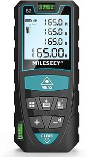 Medidor Laser de Distancia 50M/165 pies,Mileseey Metro Laser IP54 con 2 niveles de burbuja, Medidor de Distancia Digital Portátil con Telémetro Láser con Pantalla LCD de 4 Líneas(Batería Incluida)