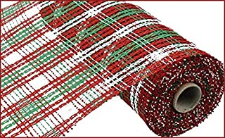 10 Inch x 30 Feet Christmas Deco Poly Burlap Stripe Check Mesh Ribbon (Red White Lime Green)
