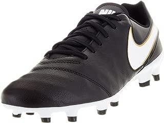 Nike Mens Tiempo Genio II Leather Fg Black/White/Metallic Gold Soccer Cleat 8 Men US