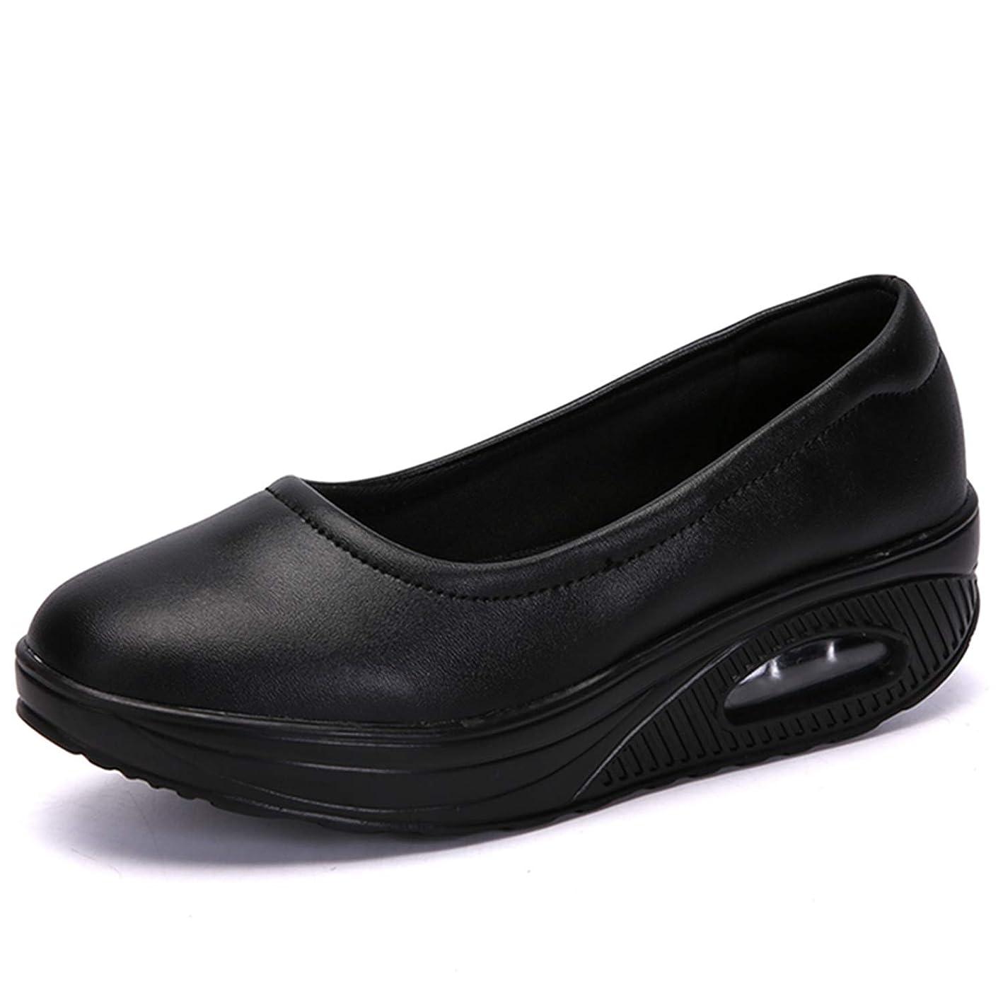 [Sunlane] レディース ナースシューズ スニーカー 厚底 ダイエットシューズ 安全靴 ナースシューズ 看護師 介護士 通気性 柔軟性 本革 通気 エアクッション付き お母さん 婦人靴 軽量 スボーツスニーカー