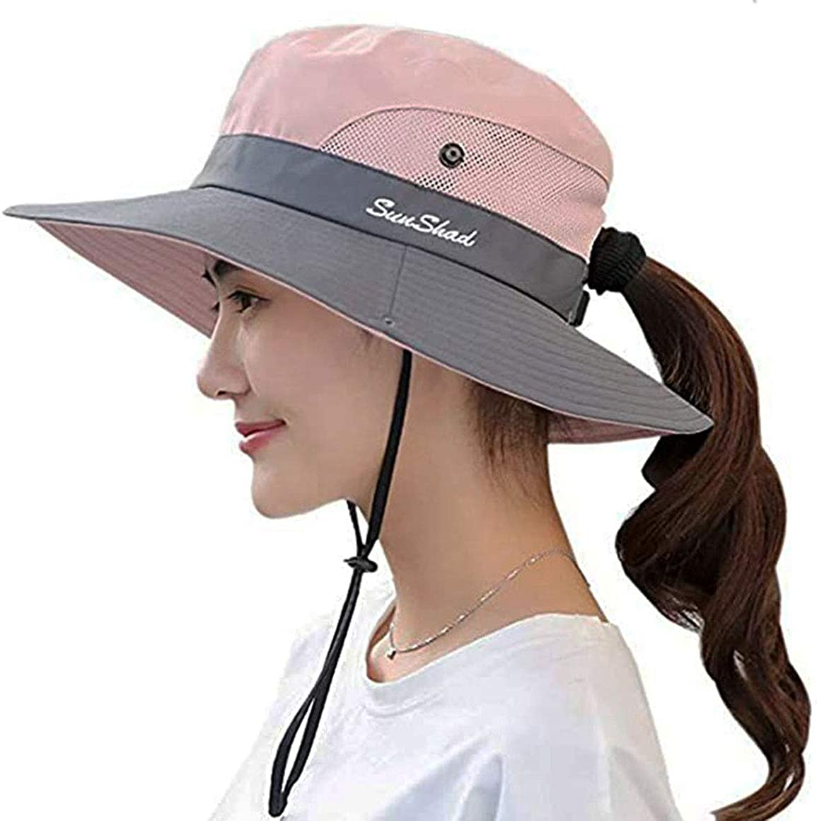Ponytail Sun Hats for Women with UV Protection Wide Brim High Bun Visor Fit for 21