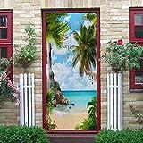 Árbol de coco 3Dcartel de puerta autoadhesivo, imagen de pared autoadhesiva DIY, papel tapiz impermeable de PVC-85cm(W)*215cm(H)