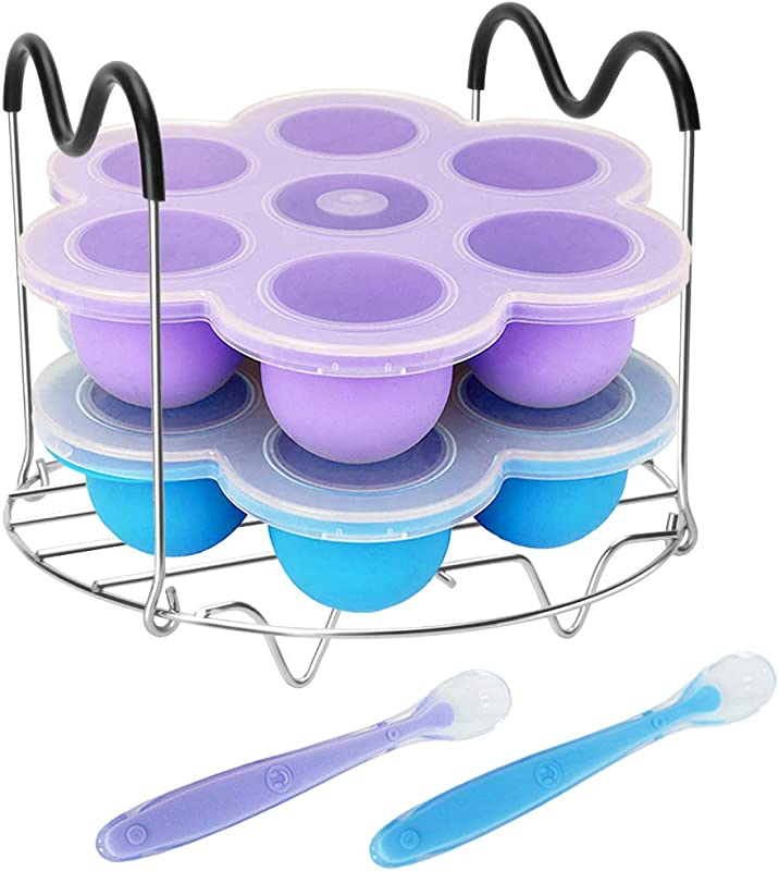 Pressure Cooker Accessories With Silicone Egg Bites Molds And Steamer Rack Trivet With Heat Resistant Handles For Instant Pot Accessories 6 Qt 8 Quart 3 Pcs With 2 Bonus Spoons Blue Purple