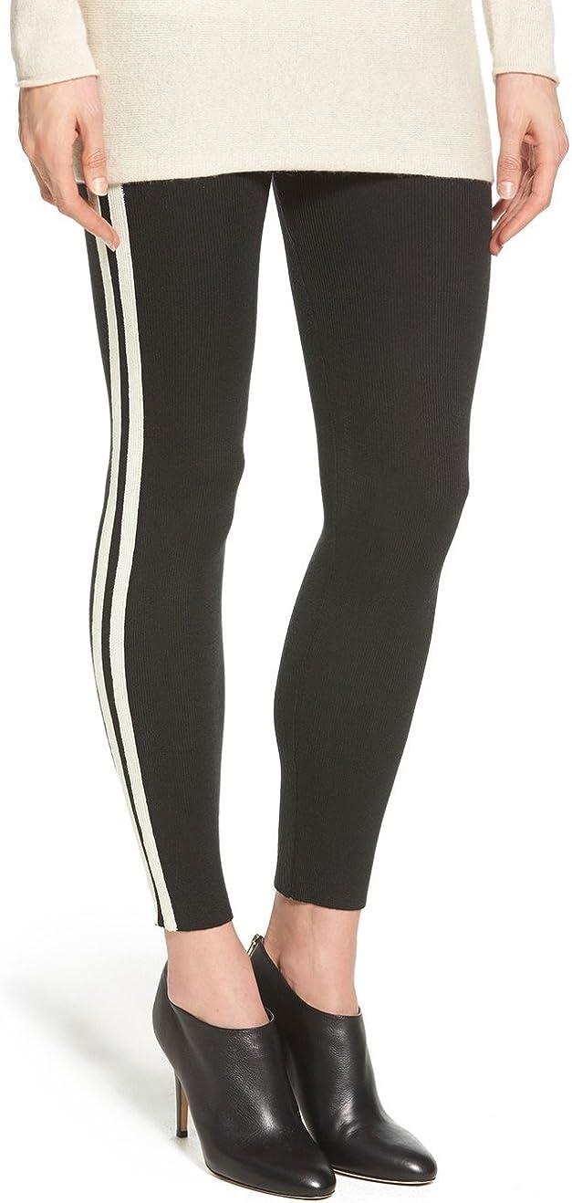HUE Women's Racer Stripe Sweater Leggings, Black, Large