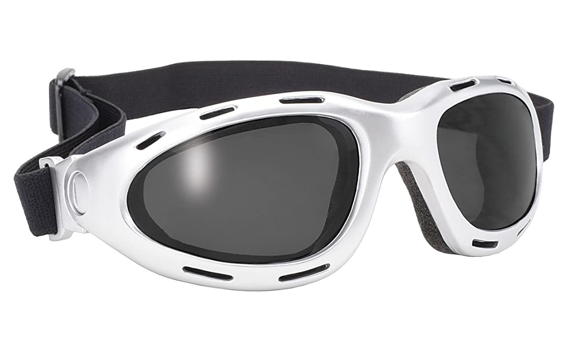 Pacific Coast Dyno Value Folding Riding Goggles (Silver Frame/Smoke Lens)