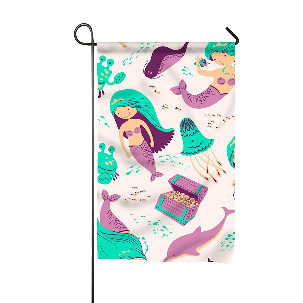 Rongx Marine with Mermaid Seasonal Garden Flags for Outdoors Yard 12-inch x 18-inch Flags Double-Sided