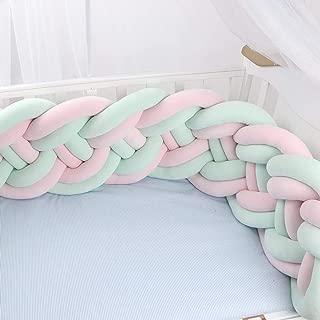 Braided Crib Bumper, Handmade Braided Cot Bumper, Baby Head Guard Bumper Knot Braid Cushion, Decorative Pillow For Nursery Crib Bedding,Green-2.6m