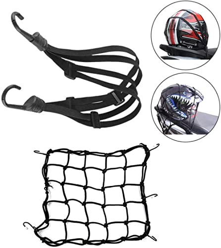 RXYYOS Filet à Bagages Elastique (40 X 40cm) et Sangle Bagage Elastique 60cm avec Crochets pour Vélo Moto Fixer Casqu...