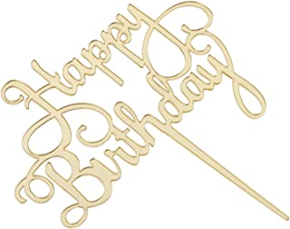 Fenteer Happy Birthday Letters Acrylic Cake Toppers Mirror Cake Party Accessories - Gold