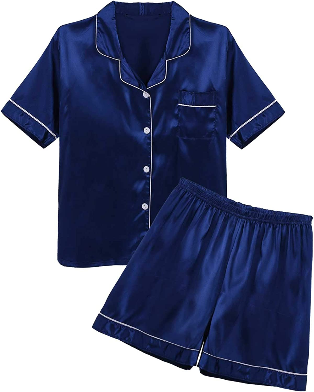 QinCiao Men's Satin Frilly 2 Pieces Short Sleeve Button-Down Pajamas Set Sleepwear Loungewear