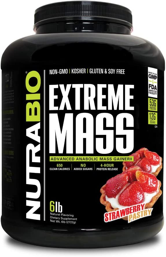 NutraBio Extreme Mass Over item Cheap mail order specialty store handling Weight Gainer 6 Strawberry Pastry lbs -