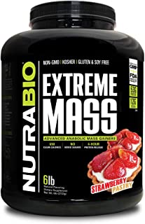 NutraBio Extreme Mass Weight Gainer - 6 lbs Strawberry Pastry