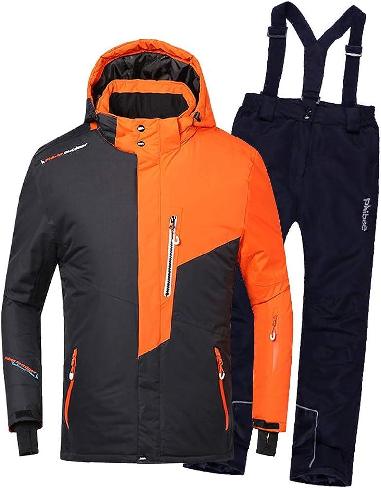 LSERVER Boys' Ski Suit Set Thicken Two-Piece Set Ski Suit + Ski Pant, Orange top + Dark Blue Pant, 6X = Height of 48~50.4 in