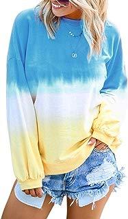 Womens Loose Fit Sweatshirt Gradient Long Sleeve Casual Tunic Basic Tops