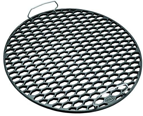RÖSLE BBQ Gussrost RS Ø 60 cm, Stahl emailliert, Edelstahl 18/10, schwarz, Wabenmuster
