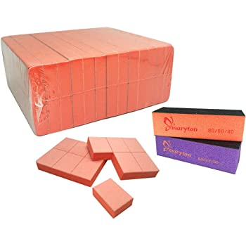Nail Buffer Mini Block File 80/100 Grit Disposable Bulk, 130 Count (Orange)