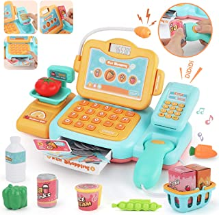 JoyGrow Smart Cash Register Pretend Play Supermarket Shop Toys with Calculator ,Working Scanner,Credit Card ,Play Food ,Money and More Educational Learning Toys (Yellow)