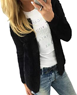 Women's Open Front Sexy Slim Fit Solid Color Long Sleeve Shaggy Short Cardigan Coats