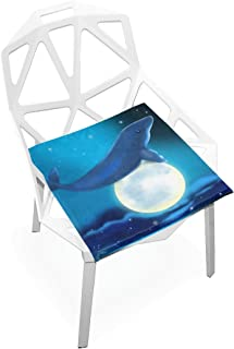 TSWEETHOME Comfort Memory Foam Square Chair Cushion Seat Cushion with Whale and Moon Chair Pads for Hardwood Floors Dining Chairs Office Chairs