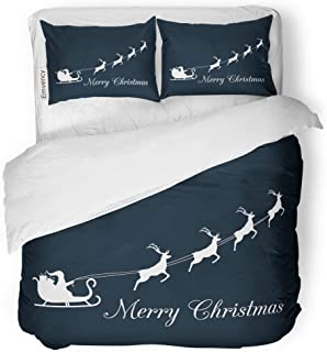 MIGAGA Decor Duvet Cover Set Twin Size Blue Sack Santa Claus is Flying in Sleigh Reindeer Merry Christmas Animal 3 Piece Brushed Microfiber Fabric Print Bedding Set Cover