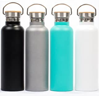 Pure Flask Insulated Stainless Steel Water Bottle Must Select Preferred Color and Size, BPA Free Wide Mouth Swivel Handle and Bamboo on Top