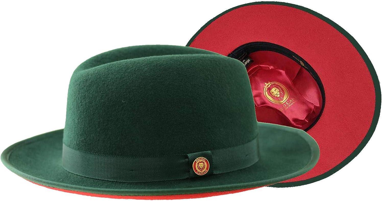 Bruno Capelo Red Bottom Australian Wool Felt Fedora Hat Casual Men Women Hat, Dark Green, M