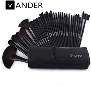 Vander Synthetic Kabuki Foundation Blending Makeup Brushes Kit with Bag - Black