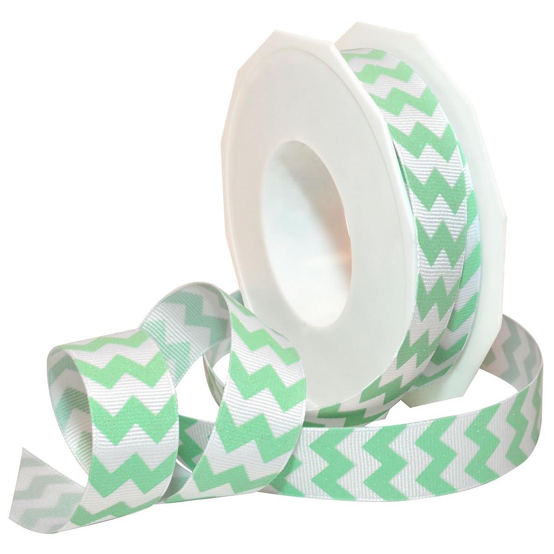 Morex Ribbon 98122/20-036 Polyester Sugar Chevron Ribbon, 7/8-Inch by 20-Yard, Mint