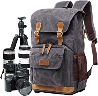 Camera Bag, Canvas SLR DSLR Camera Backpack Large Capacity Front Open Waterproof Anti-Shock Camera Rucksack Camera Travel ...