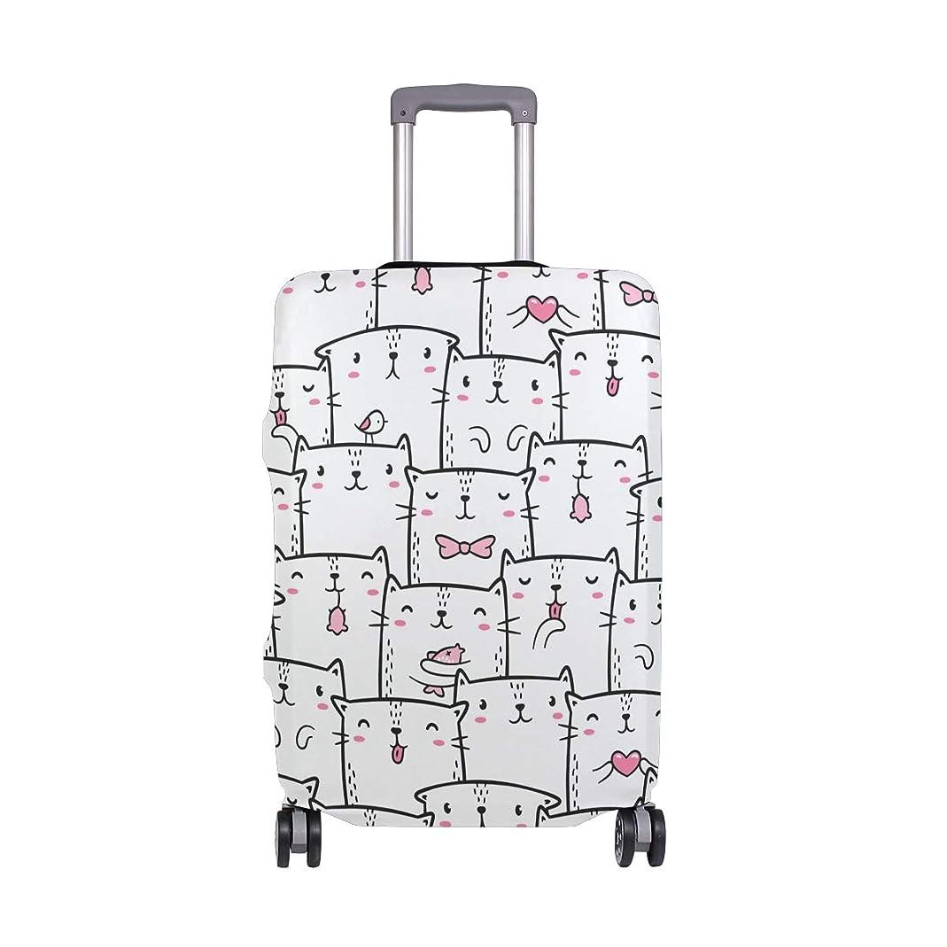 排出僕の登録スーツケースカバー 猫柄 かわいい こころ 伸縮素材 保護カバー 紛失キズ 保護 汚れ 卒業旅行 旅行用品 トランクカバー 洗える ファスナー 荷物ケースカバー 個性的