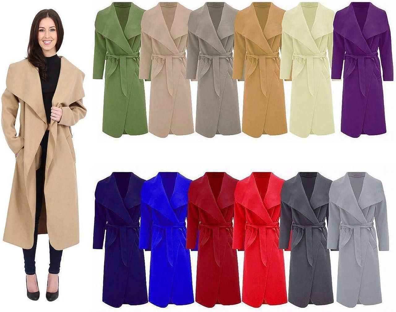 Hina Fashion Frauen-Damen Italienisch Wasserfall Belted Langarm-Mantel-Jacken-Top Schwarz