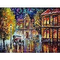 レトロな車の道路の風景大人の大人のためのデジタル油絵ブラシ40x50cmフレームレスのブラシでクリスマスの装飾