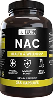 Pure NAC N-Acetyl L-Cysteine (365 Capsules) Gluten-Free Amino Acid (1150 mg Serving)