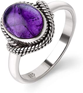 Chuvora 925 Sterling Silver Amethyst Gemstone Oval Rope Edge Vintage Band Ring Size 6, 7, 8