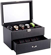 AWZSDF Black Carbon Fiber Pattern Watch Box Display Storage Case with Glass Top, Red Stitching Perforated Soft Pillows Holds 20 Watches - Red Stitching