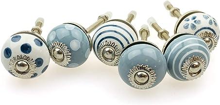 Möbelknopp möbelknopp möbelhandtag uppsättning av 6 KLEIN 088GN_SM prickar cirklar avlopp vit grå – jay knapp keramik pors...