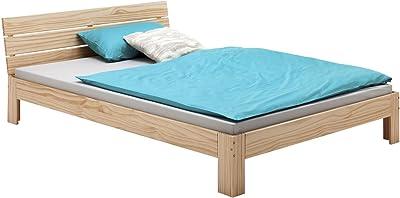 IDIMEX Lit Double pour Adulte Thomas avec tête de lit, Couchage 140 x 200 cm 2 Places / 2 Personnes, en pin Massif Vernis Naturel