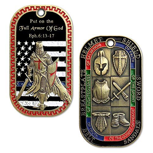 AtSKnSK Put on the Full Armor of God Dog Tag Pendant Challenge Coin Necklace Gift