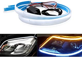 JZ Automobile DRL Turn Signal Light LED Strip [2 X 24 Inches][White to Yellow]
