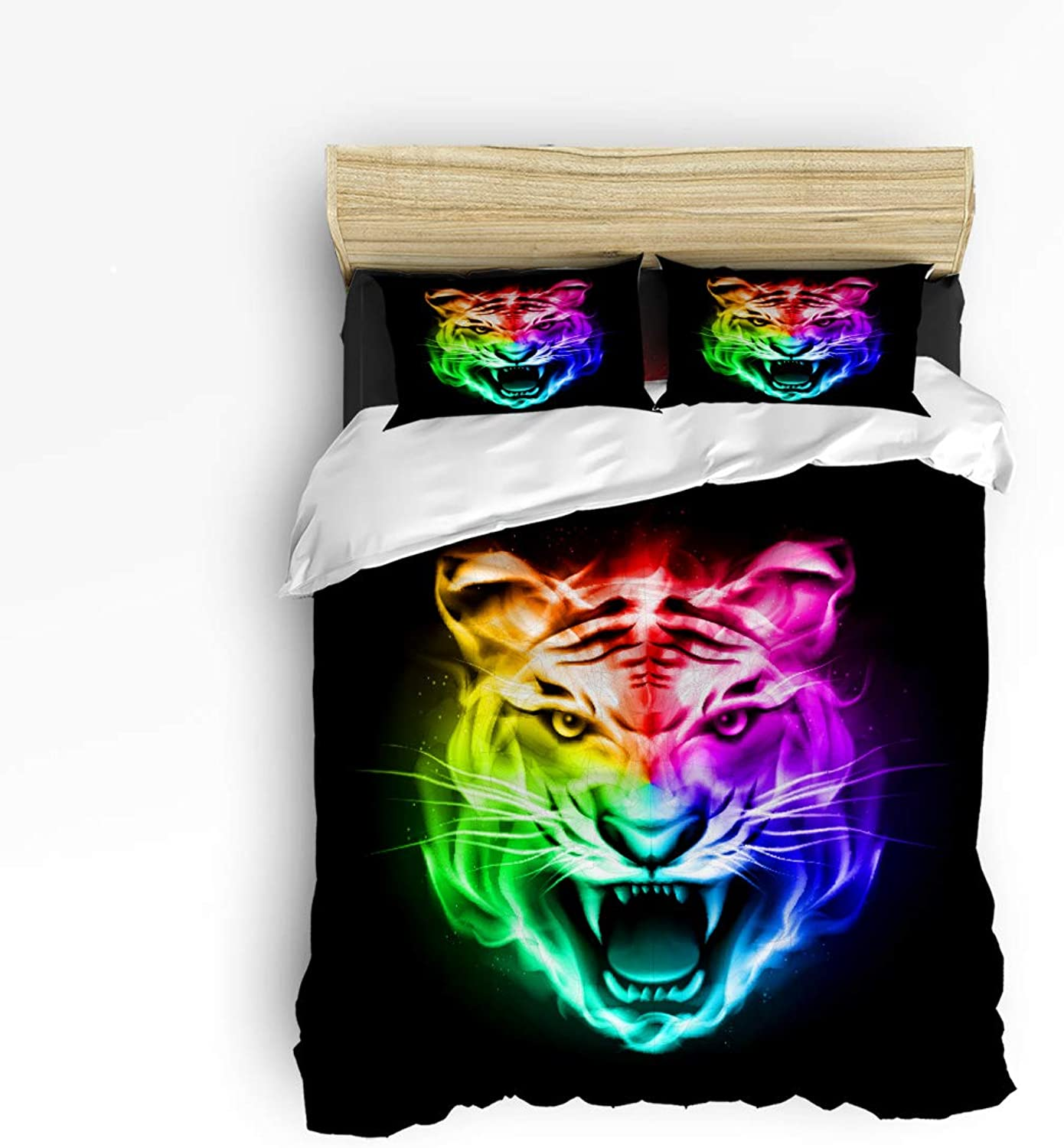 Fandim Fly Bedding Set Twin Size, colorful Animal Roaring Tiger,Comforter Cover Sets for All Season