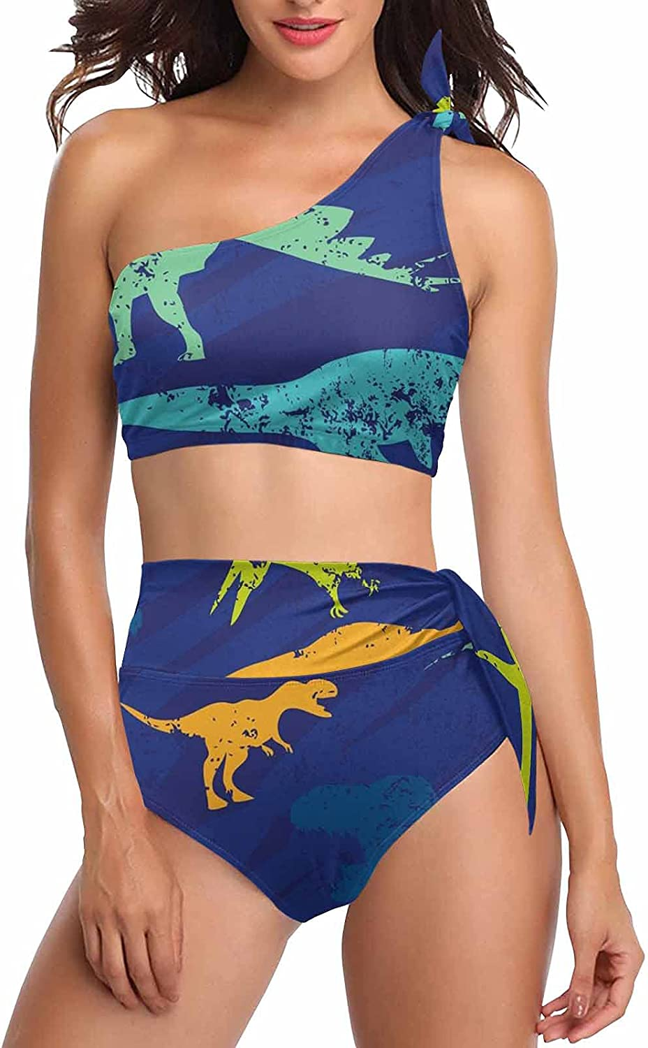 InterestPrint Cute Starfish Whales Pattern Two Pieces Swimsuits for Women One Shoulder Tie Crop Top Bikini
