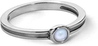 American West Sterling Silver Mother of Pearl Gemstone Stacking Ring Size 5 to 10