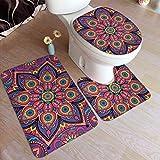 NB - Set di 3 tappeti da bagno e tappetini da bagno lavabili a forma di U, motivo boho, senza cuciture, viola viola rubino