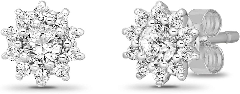 10K Gold Diamond Halo Stud Earrings (1/5-1/2 cttw, I-J Color, I2-I3 Clarity)