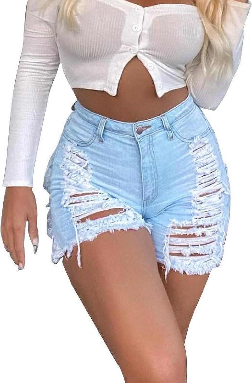 Ladies Summer Denim Shorts Fashion High Waisted Ripped Holes