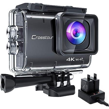 【進化版4K/50FPS】Crosstourアクションカメラ 4K 20MP解像度 「バッテリー充電器付属」Wi-Fi 40M防水 水中カメラ 6軸EIS手ブレ補正 タイムラプス ループ録画 連写 スロモーション2つ1350mAhバッテリー USBケーブルと多様なアクセサリー 調節可能な170°広角レンズ バイク・車・ヘルメット・サーフボードに取り付け可能 スポーツカメラ 「メーカー13月保証」CT9500