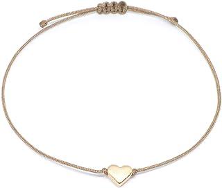 SelfmadeJewelry heart bracelet rose gold – light brown/beige textile bracelet with rose gold heart – adjustable – handmade