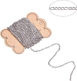 DanLingJewelry 304 Stainless Steel Figaro Chains Cable Link Chain for Jewelry Making, 20 Meters(Stainless Steel Color-4.5x3x0.8mm and 6.5x3x0.8mm)